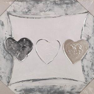 Collage auf Leinwand - Drei Herzen - 30 x 30 cm