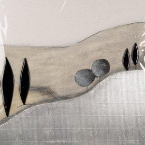 Collage Kastenbild - Ränder handbemalt - Allee 2 - 60 x 60 cm