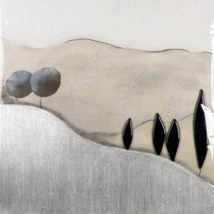 Collage Kastenbild - Ränder handbemalt - Allee 1 - 60 x 60 cm