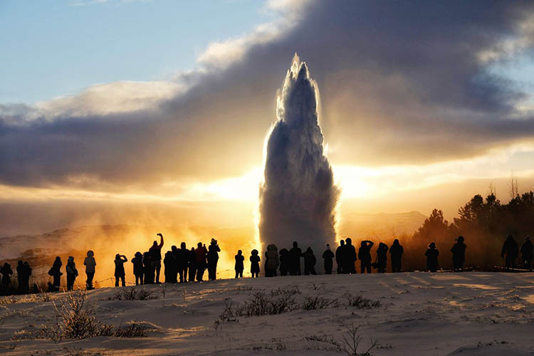 Iceland Geysir Winter
