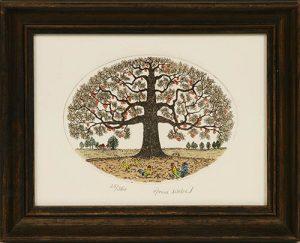 Radierung mit Rahmen - Baum mit Hahn