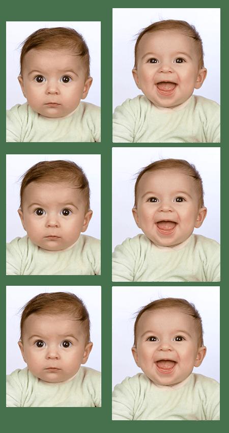 Biometrische Passbilder vom Baby