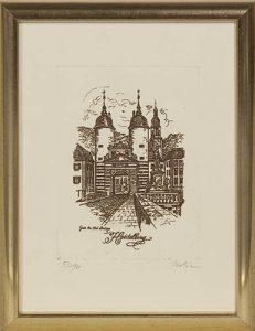Radierung mit Rahmen - The old bridge Heidelberg