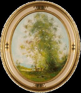 Ovales Oelbild mit Rahmen - O. Fontana