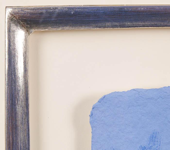 Schwebend gerahmt, Passepartout mit einer Sterlingsilber belegten Innenleiste