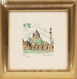 Radierung mit Rahmen - Moschee im Schwetzinger Schlossgarten
